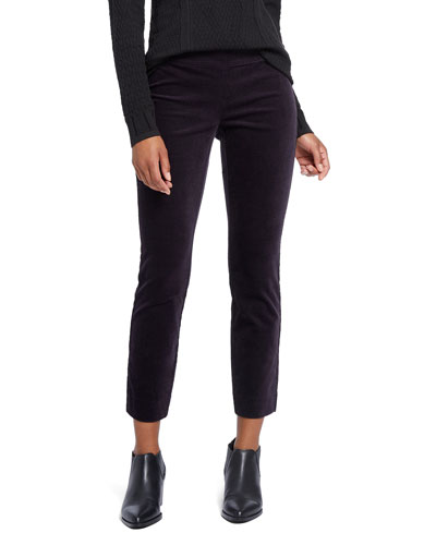 Stretch Velvet Side Zip Ankle Pants