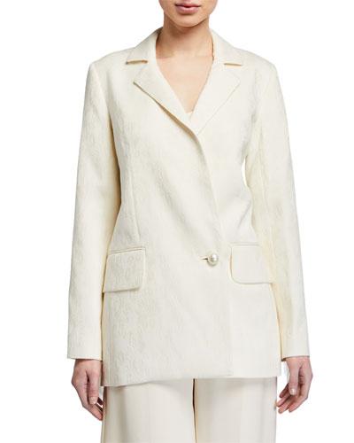 Maddox Jacquard Tailored Jacket w/ Fringe