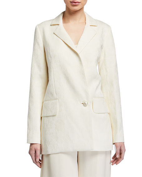 Mother of Pearl Maddox Jacquard Tailored Jacket w/ Fringe