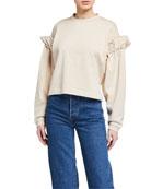 Mother of Pearl Dani Cropped Sweatshirt w/ Pearl