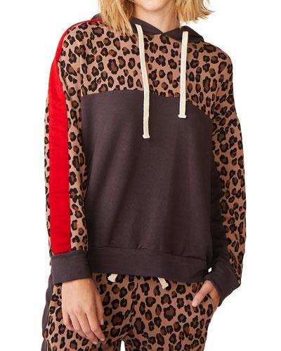 Leopard Print Block Pullover Hoodie Sweatshirt