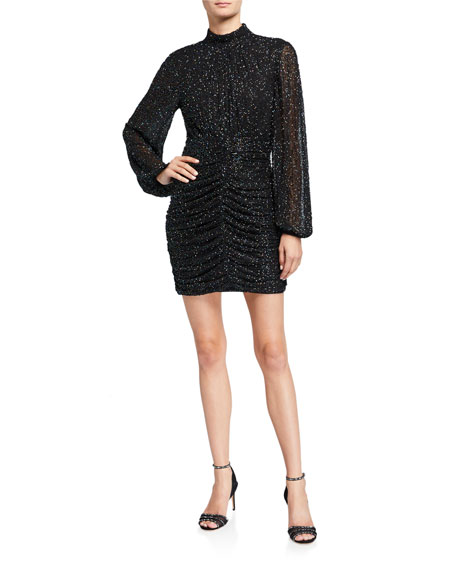 Jay Godfrey Farre Beaded Long-Sleeve Mini Dress with Shirred Skirt