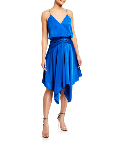 Aidan by Aidan Mattox V-Neck Draped Charmeuse Handkerchief Dress