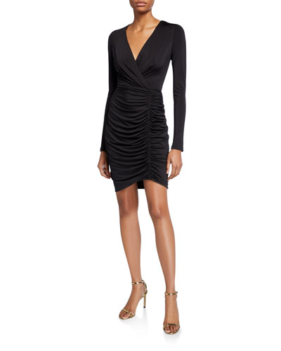 Como Long-Sleeve Shirred Cocktail Dress