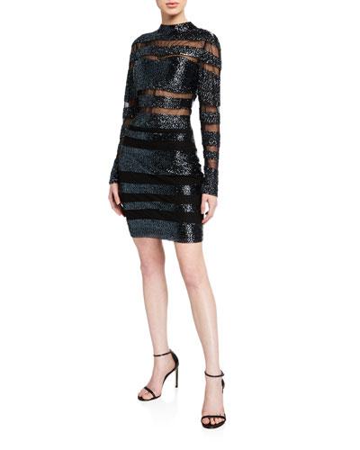 Beaded Striped High-Neck Long-Sleeve Dress
