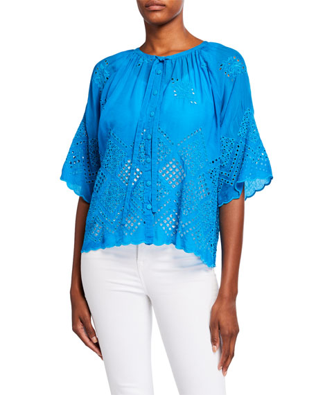 Johnny Was Plus Size Randa Elbow-Sleeve Scallop Edge Cutout Blouse