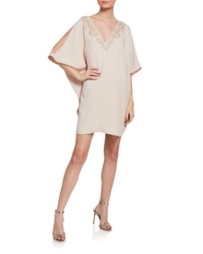 V-Neck Split-Sleeve Mini Crepe Dress