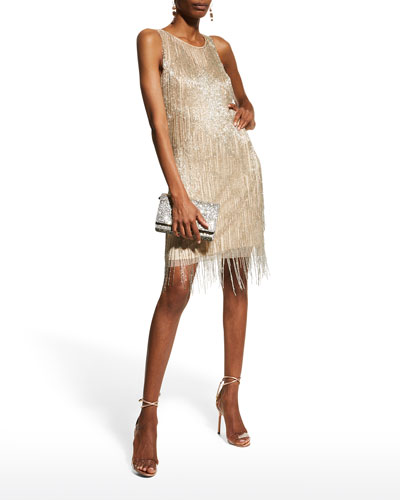 Fully Fringe Beaded Sleeveless Cocktail Dress