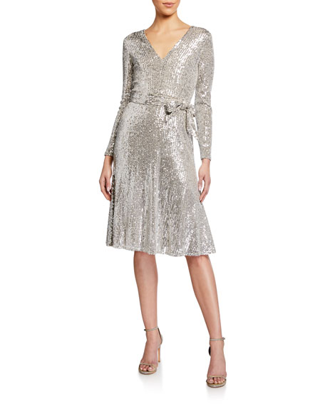 Dress The Population Daphne Sequin V-Neck Long-Sleeve Dress