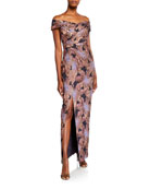 Aidan Mattox Off-the-Shoulder Ruched Floral Jacquard Column Gown