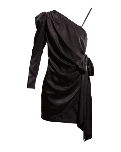 Draped Charmeuse One-Shoulder Wrapped Cocktail Dress