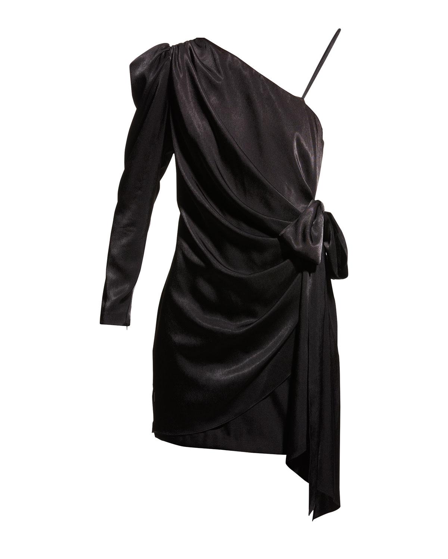 Aidan by Aidan Mattox Draped Charmeuse One-Shoulder Wrapped Cocktail Dress