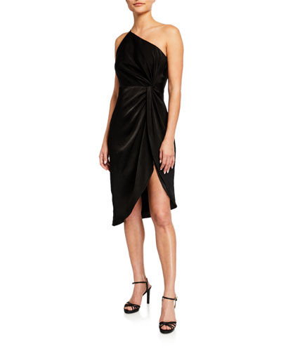 One-Shoulder Draped Charmeuse Cocktail Dress