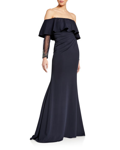 Off-the-Shoulder Sheer Long-Sleeve Gown w/ Flounce Popover