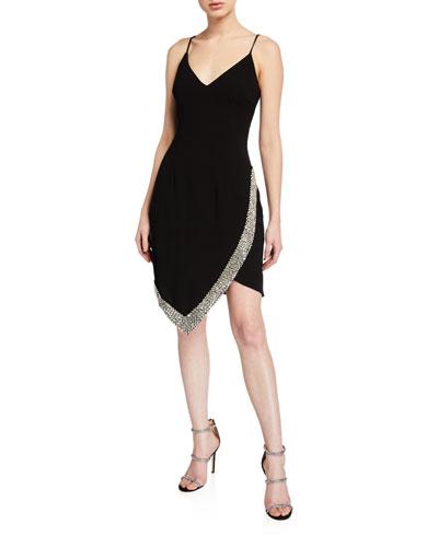 V-Neck Spaghetti-Strap Short Dress w/ Beaded Trim