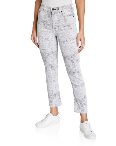Reed Animal-Print Cropped Jeans