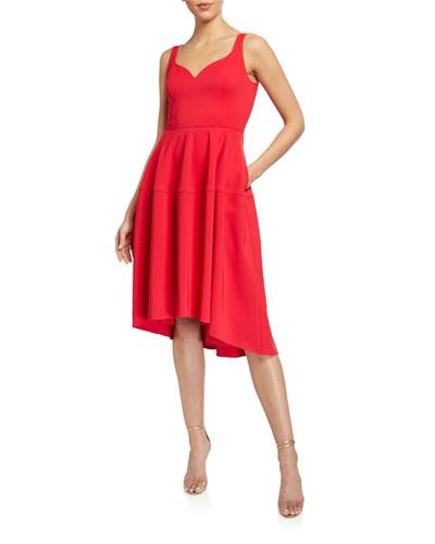 Sweetheart High-Low Crepe Dress