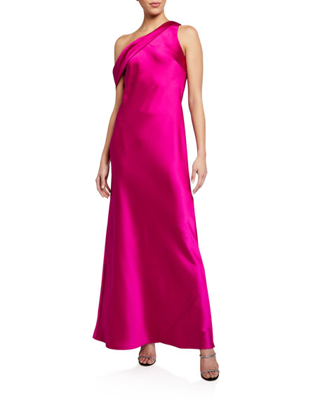 Jay Godfrey Thea One-Shoulder Satin Bias Gown