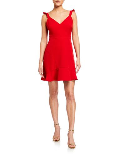 Sweetheart Flounce Crepe Cocktail Dress