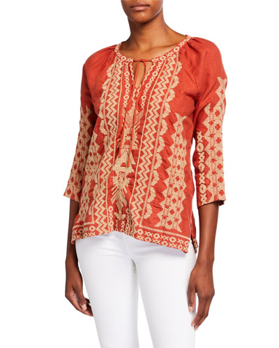 Tracy Embroidered 3/4-Sleeve Linen Peasant Blouse