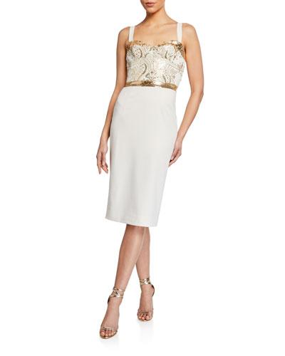 Silvia Beaded Cami Top Crepe Dress