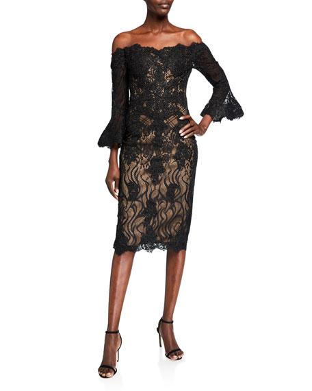 Jovani Off-the-Shoulder 3/4-Sleeve Short Lace Dress