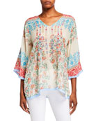 Johnny Was Jade Printed V-Neck Top with Embroidered