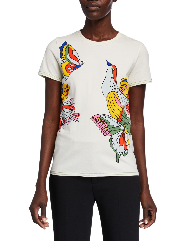 Tory Burch Shirts BIRD PRINTED SHORT-SLEEVE T-SHIRT
