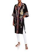 Johnny Was Keitaro Embroidered Elbow-Sleeve Kimono Jacket
