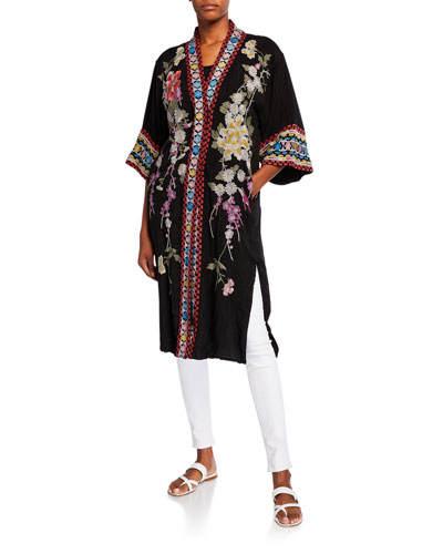 Keitaro Embroidered Elbow-Sleeve Kimono Jacket