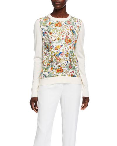 Printed Silk Front Long-Sleeve Wool Sweater