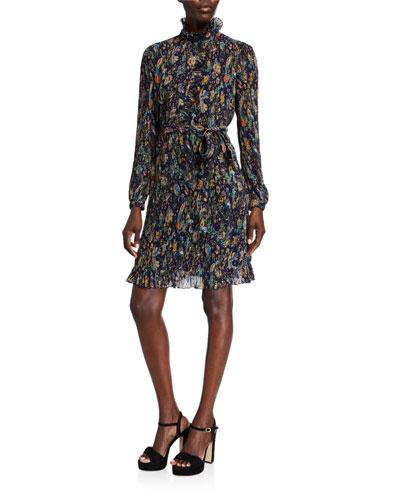 Deneuve Printed Mock-Neck Long-Sleeve Plisse Georgette Dress