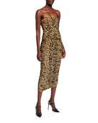 Norma Kamali Leopard Strapless Ruched Midi Dress