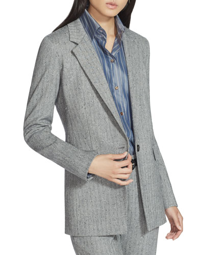 Plus Size Rhoda Speckled Herringbone One-Button Blazer