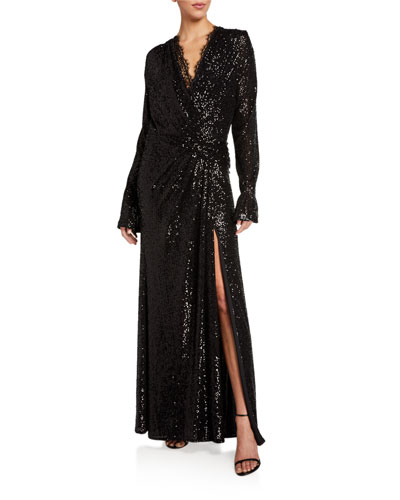 Sequined Long-Sleeve Draped Gown with Lace