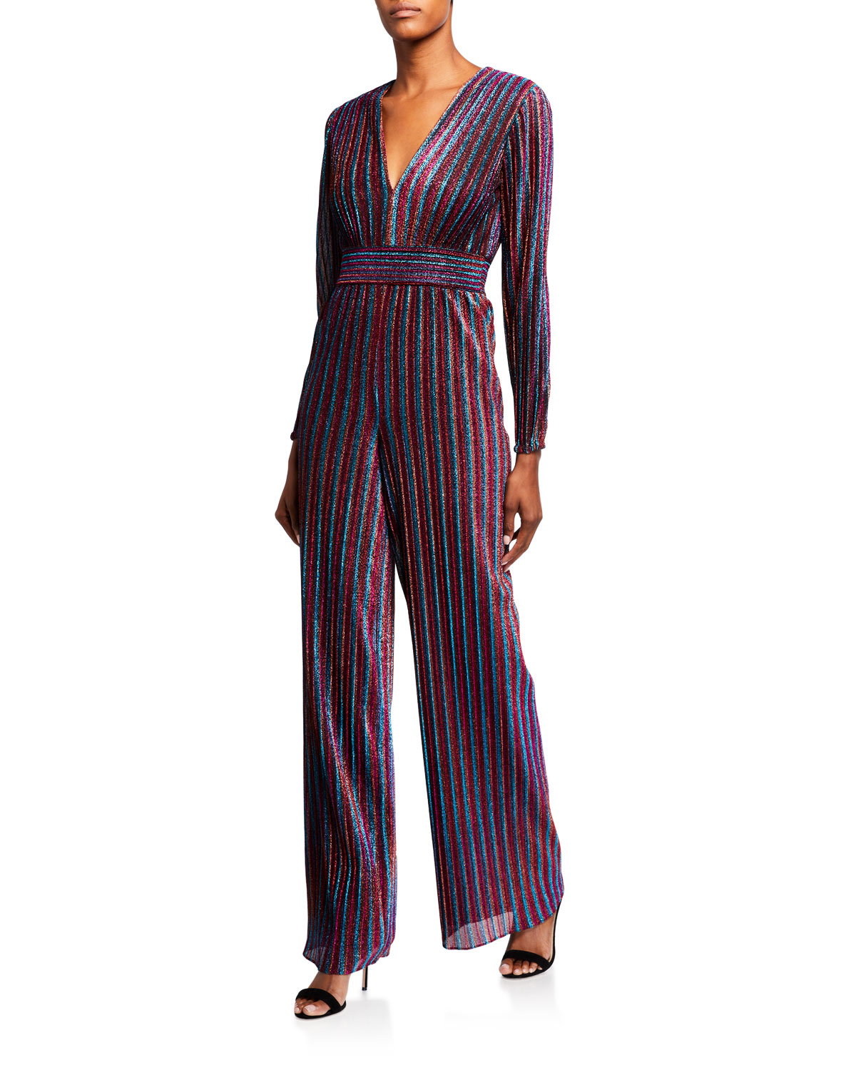 Jonathan Simkhai Suits RAINBOW PLEATS DEEP V JUMPSUIT