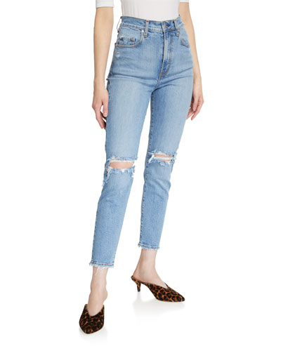 Frankie Distressed Stretch Ankle Jeans