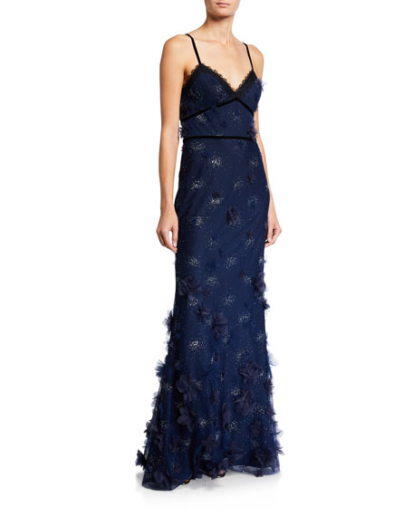 Marchesa Notte Metallic Embroidered Sleeveless Gown w/ 3D Flowers & Lace Trim