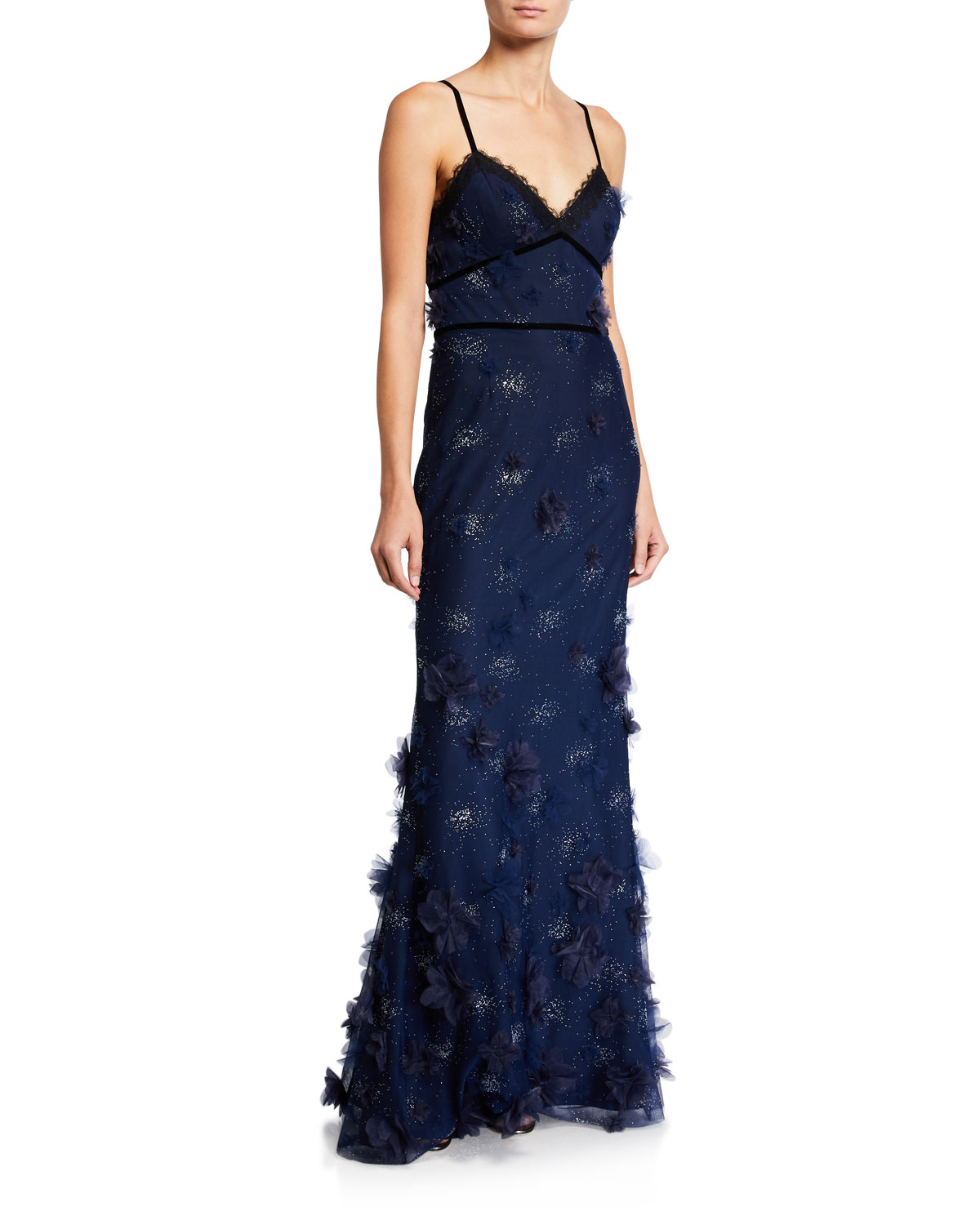 Marchesa Notte Tops METALLIC EMBROIDERED SLEEVELESS GOWN W/ 3D FLOWERS & LACE TRIM