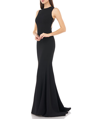 Sleeveless Lace-Back Stretch Crepe Mermaid Gown