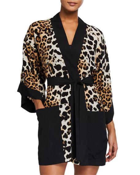Shan Kawa Pap Leopard-Print Silk Kimono Coverup