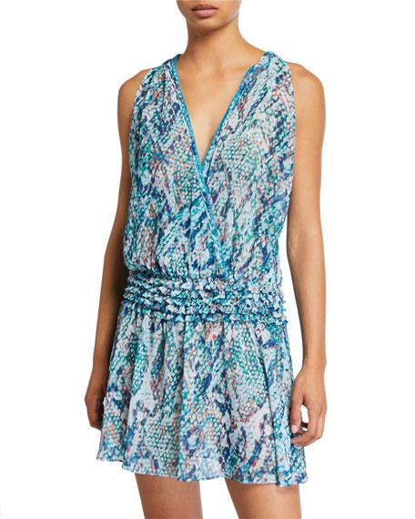 Ramy Brook Mesina Printed Chiffon Smocked-Waist Dress