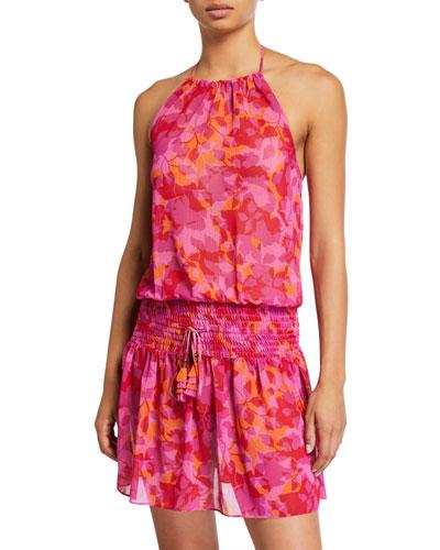 Damara Floral Print Chiffon Halter Dress