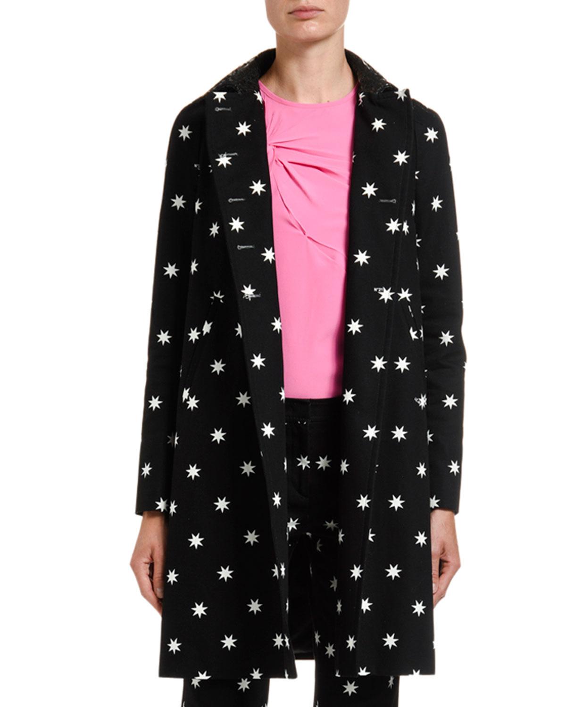 N°21 Coats STAR-PRINT A-LINE COAT W/ LASER-CUT COLLAR