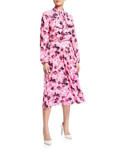 Long-Sleeve Floral Tie-Neck Midi Dress