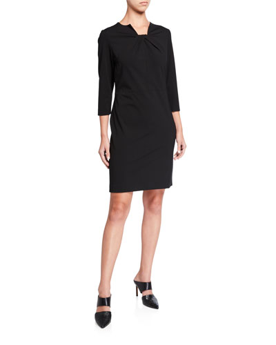 Ruched Square-Neck 3/4-Sleeve Ponte Dress