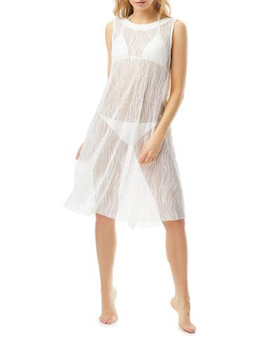 High-Neck Sheer Coverup Dress