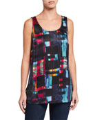 Go Silk Floral-Print Silk Georgette Tank and Matching