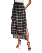 Loyd/Ford Satin Waist Plaid Skirt