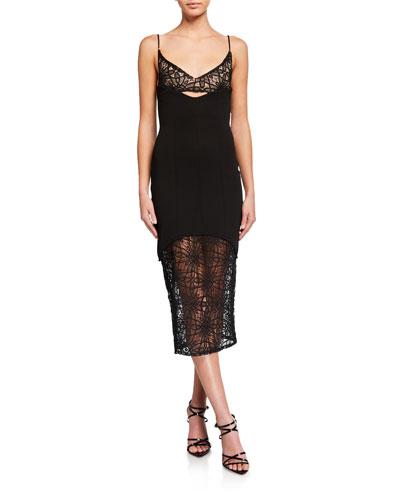 Irina Sheer Lace & Crepe Slip Dress